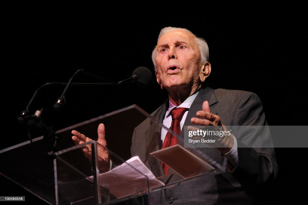 Actor Kirk Douglas speaks onstage at the The Film Society of Lincoln Center's 37th Annual Chaplin Award gala at Alice Tully Hall on May 24, 2010 in New York City.