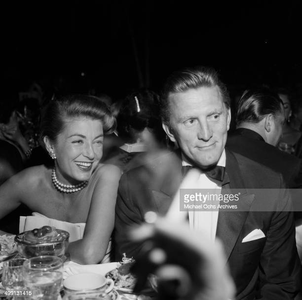 Actor Kirk Douglas with wife Anne Buydens attend a dinner party in Los Angeles California