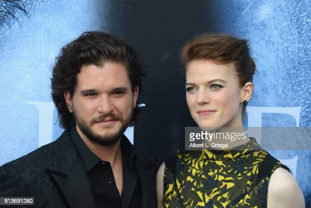 Actor Kit Harington and actress Rose Leslie arrive for the Premiere Of HBO's 'Game Of Thrones' Season 7 held at Walt Disney Concert Hall on July 12...