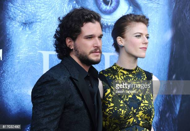 Actor Kit Harington and actress Rose Leslie attend the season 7 premiere of 'Game Of Thrones' at Walt Disney Concert Hall on July 12 2017 in Los...