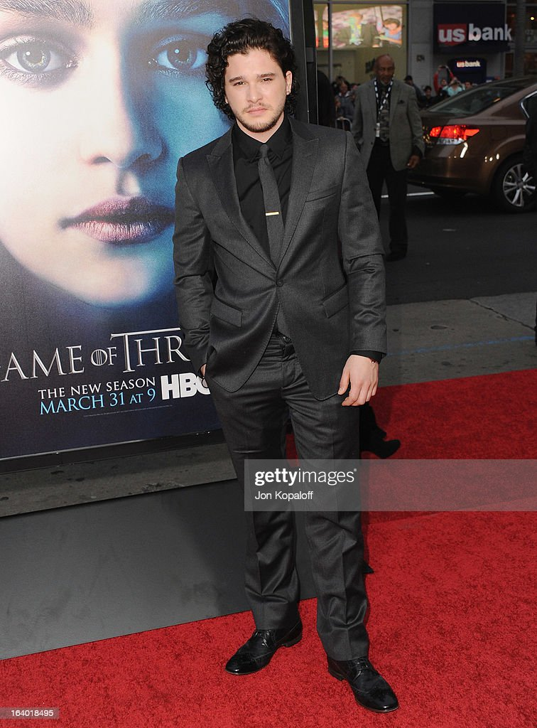 Actor Kit Harington arrives at the Los Angeles Premiere of HBO's 'Game Of Thrones' Season 3 at TCL Chinese Theatre on March 18, 2013 in Hollywood, California.