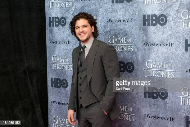 Actor Kit Harington at the 'Game of Thrones' season 3 premiere at Cinerama Theater on March 21 2013 in Seattle Washington