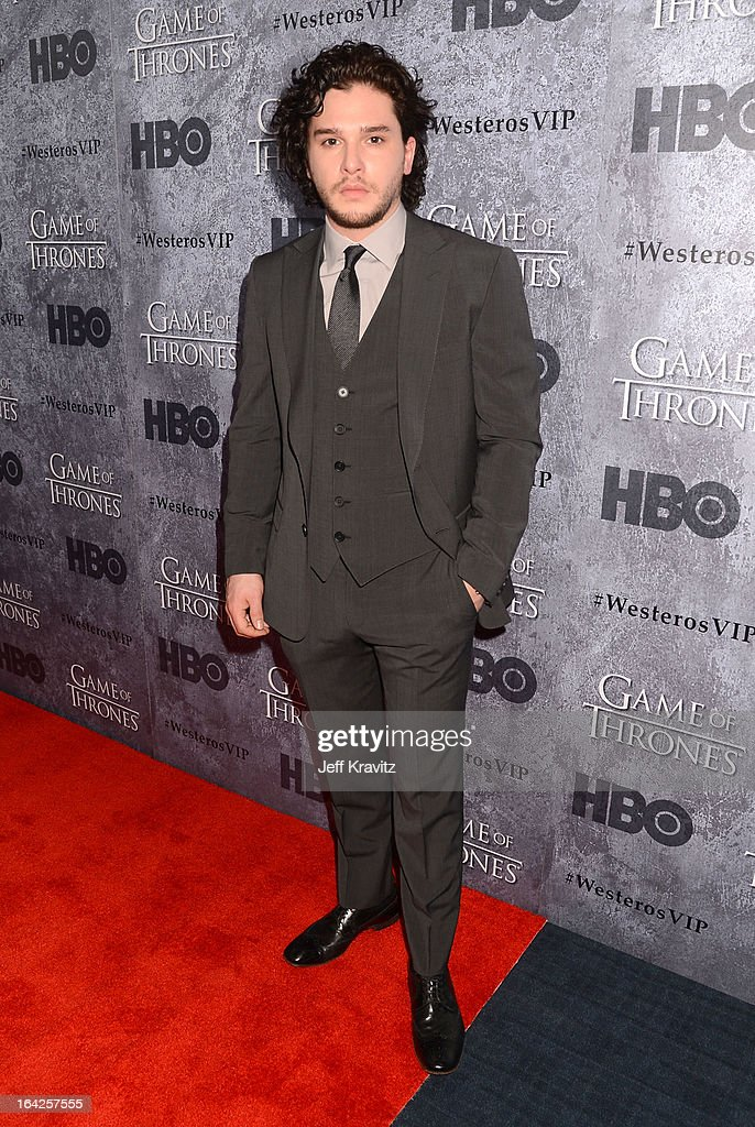 Actor <a gi-track='captionPersonalityLinkClicked' href=/galleries/search?phrase=Kit+Harington&family=editorial&specificpeople=7470548 ng-click='$event.stopPropagation()'>Kit Harington</a> attends HBO's 'Game Of Thrones' Season 3 Seattle Premiere on March 21, 2013 in Seattle, Washington.