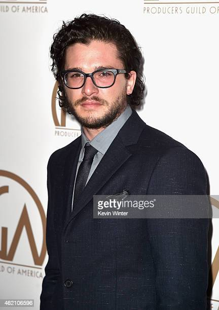 Actor Kit Harington attends the 26th Annual Producers Guild Of America Awards at the Hyatt Regency Century Plaza on January 24 2015 in Los Angeles...