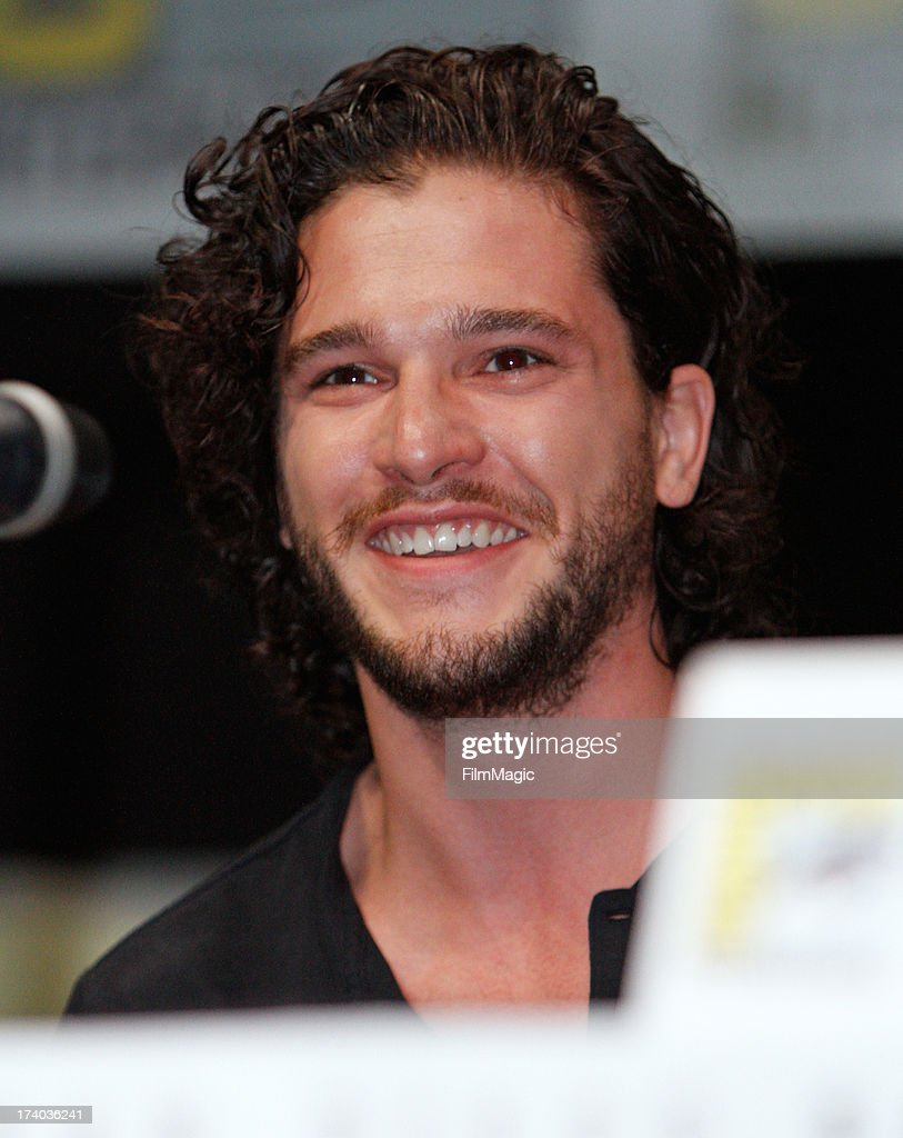 Actor <a gi-track='captionPersonalityLinkClicked' href=/galleries/search?phrase=Kit+Harington&family=editorial&specificpeople=7470548 ng-click='$event.stopPropagation()'>Kit Harington</a> speaks at HBO's 'Game Of Thrones' panel at San Diego Convention Center on July 19, 2013 in San Diego, California.