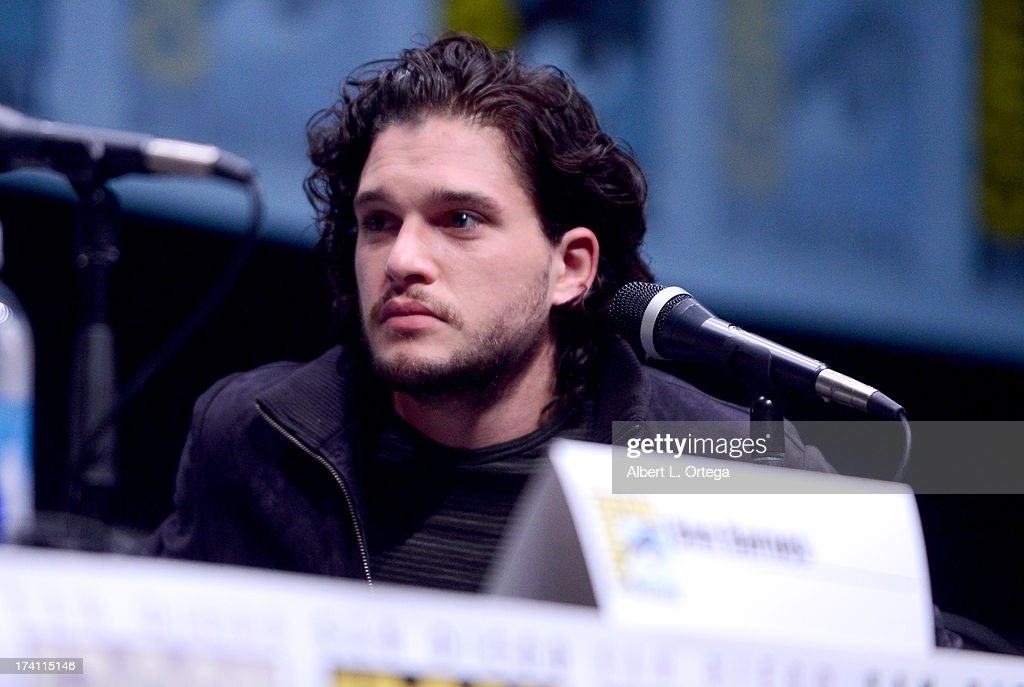 Actor Kit Harrington speaks onstage at the Warner Bros. and Legendary Pictures preview of 'Seventh Son' during Comic-Con International 2013 at San Diego Convention Center on July 20, 2013 in San Diego, California.