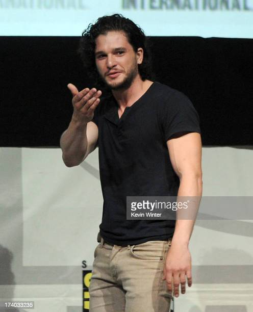 Actor Kit Harrington speaks onstage during the 'Game Of Thrones' panel during ComicCon International 2013 at San Diego Convention Center on July 19...