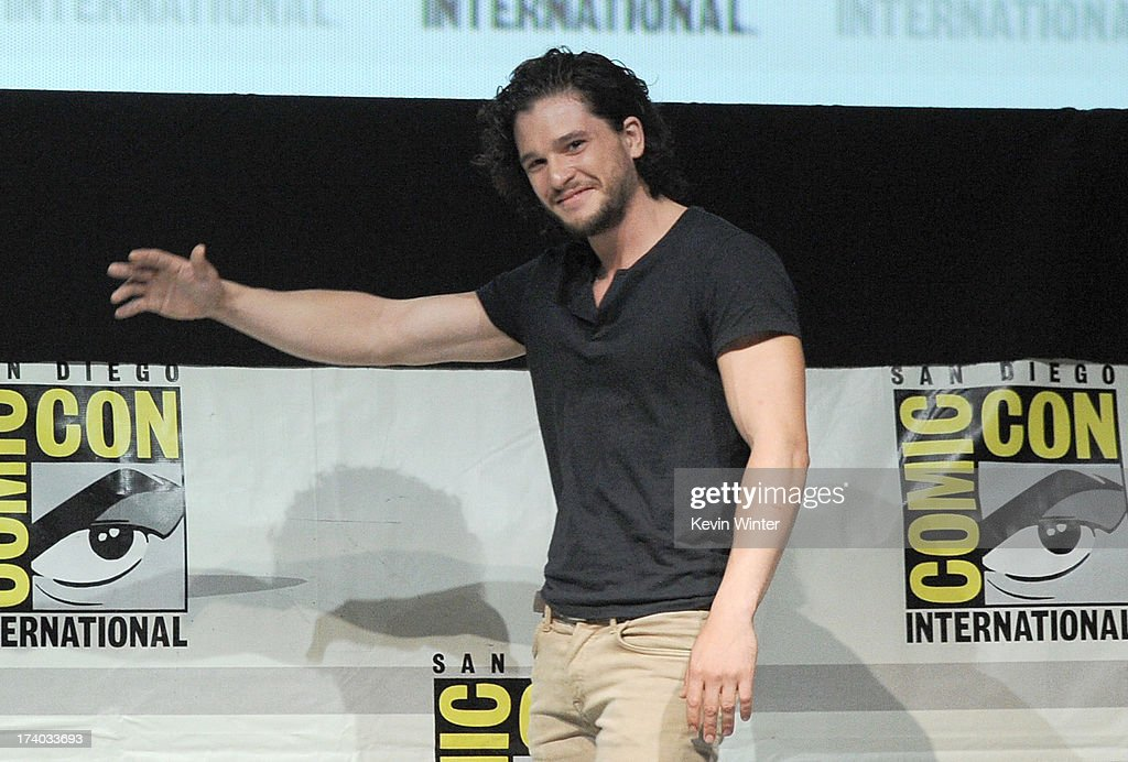 Actor Kit Harrington speaks onstage during the 'Game Of Thrones' panel during Comic-Con International 2013 at San Diego Convention Center on July 19, 2013 in San Diego, California.