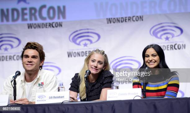 Actor KJ Apa actress Lili Reinhart and actress Camila Mendes on the 'Riverdale' panel on Day 1 of WonderCon held at Anaheim Convention Center on...