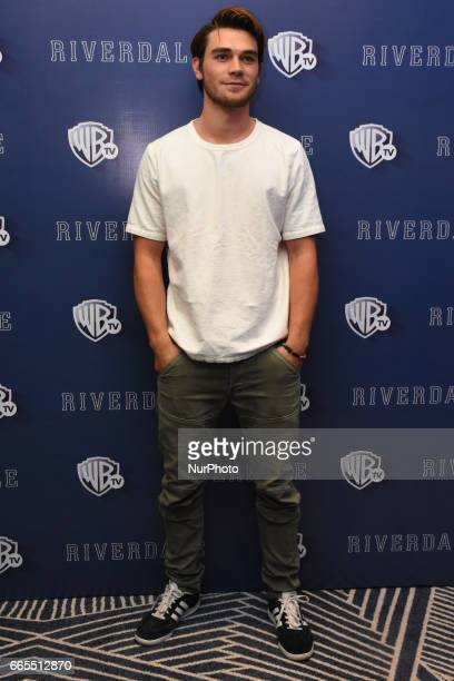 Actor KJ Apa poses during a photocall to promote Riverdale Tv Series at Four Season Hotel on April 06 2017 in Mexico City Mexico