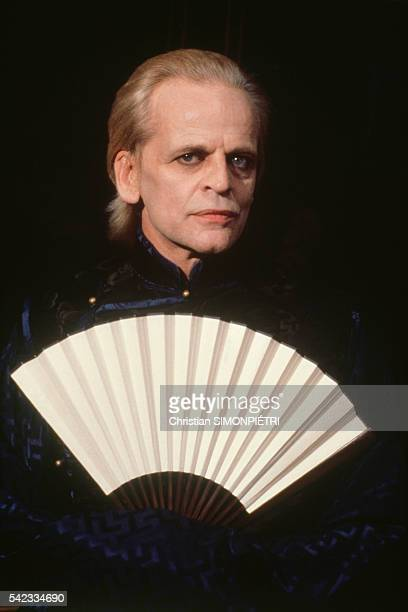 Actor Klaus Kinski on the set of movie Fruits of Passion the followup to Histoire d'O directed by Shuji Terayama