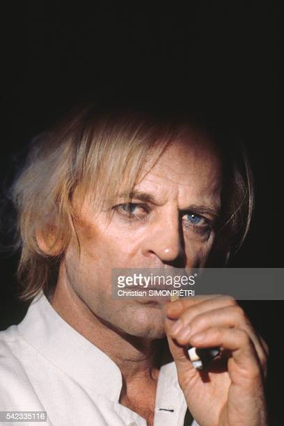 Actor Klaus Kinski on the set of movie 'Fruits of Passion' the followup to 'Histoire d'O' directed by Shuji Terayama