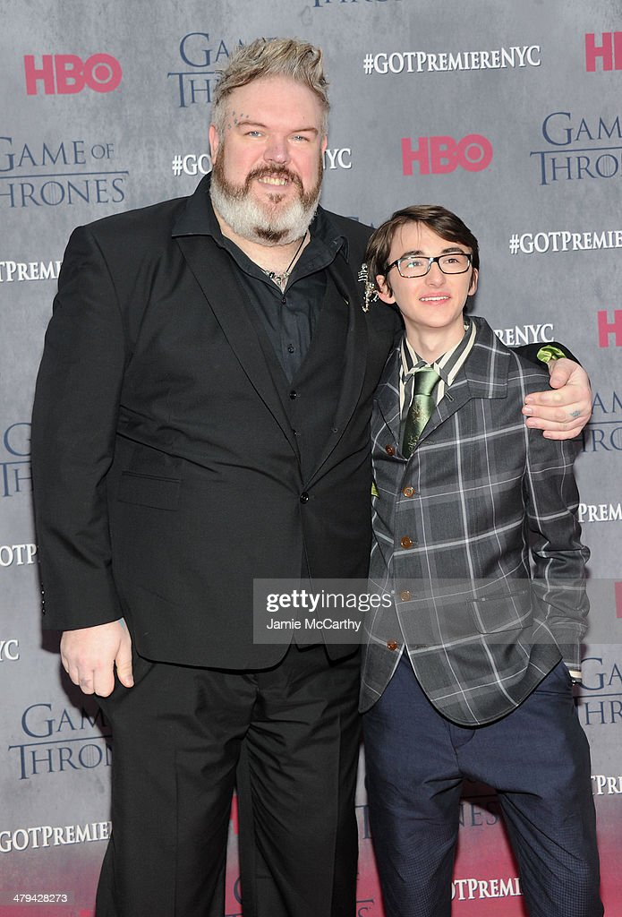 Actor <a gi-track='captionPersonalityLinkClicked' href=/galleries/search?phrase=Kristian+Nairn&family=editorial&specificpeople=9539446 ng-click='$event.stopPropagation()'>Kristian Nairn</a> and actor Isaac Hempstead Wright attend the 'Game Of Thrones' Season 4 New York premiere at Avery Fisher Hall, Lincoln Center on March 18, 2014 in New York City.