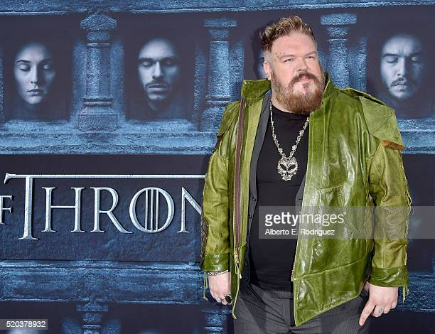 Actor Kristian Nairn attends the premiere of HBO's 'Game Of Thrones' Season 6 at TCL Chinese Theatre on April 10 2016 in Hollywood California