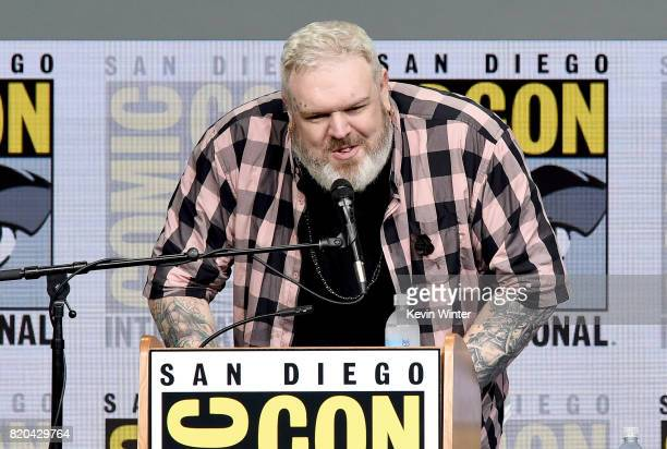 Actor Kristian Nairn speaks onstage at ComicCon International 2017 'Game Of Thrones' panel And QA Session at San Diego Convention Center on July 21...