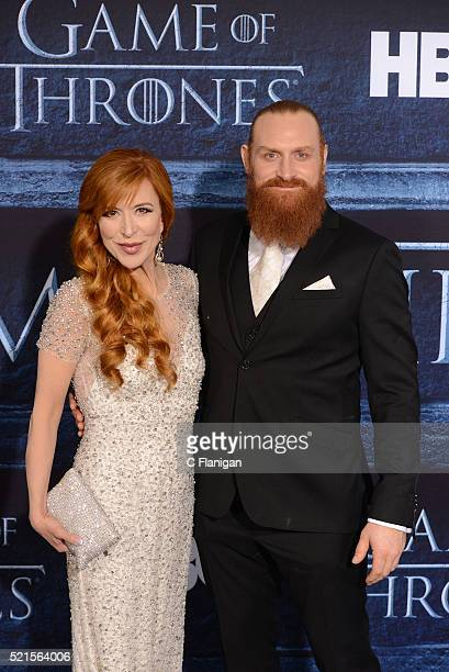 Actor Kristofer Hivju and guest arrive for the Premiere Of HBO's 'Game Of Thrones' Season 6 held at TCL Chinese Theatre on April 10 2016 in Hollywood...