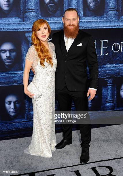 Actor Kristofer Hivju and guest arrives for the Premiere Of HBO's 'Game Of Thrones' Season 6 held at TCL Chinese Theatre on April 10 2016 in...