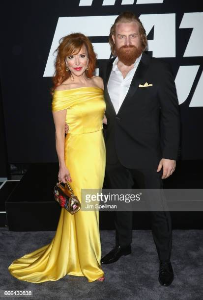 Actor Kristofer Hivju and wife Gry Molvær Hivju attend 'The Fate Of The Furious' New York premiere at Radio City Music Hall on April 8 2017 in New...