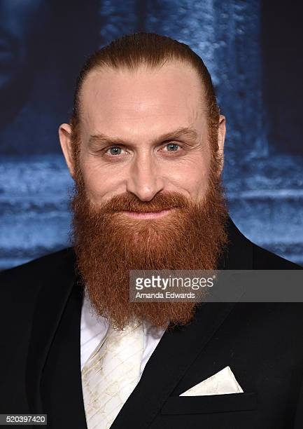 Actor Kristofer Hivju arrives at the premiere of HBO's 'Game Of Thrones' Season 6 at the TCL Chinese Theatre on April 10 2016 in Hollywood California