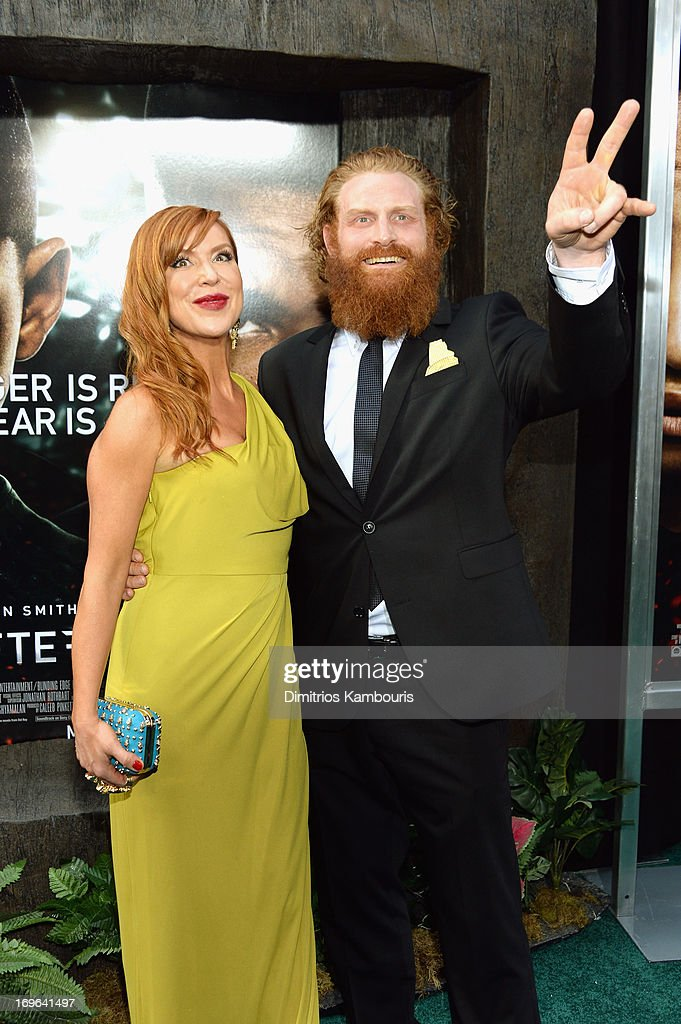 Actor Kristofer Hivju (R) attends the 'After Earth' premiere at the Ziegfeld Theater on May 29, 2013 in New York City.
