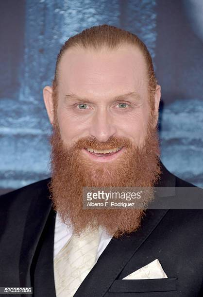 Actor Kristofer Hivju attends the premiere of HBO's 'Game Of Thrones' Season 6 at TCL Chinese Theatre on April 10 2016 in Hollywood California