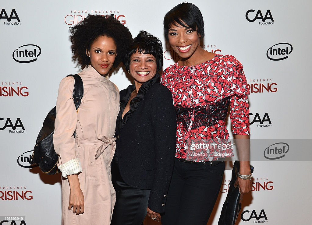 Actor Kristy Johnson, Chief Diversity Officer & Global Director of Education and External Relations for Intel Roz Hudnell and <a gi-track='captionPersonalityLinkClicked' href=/galleries/search?phrase=Vanessa+A.+Williams&family=editorial&specificpeople=2181191 ng-click='$event.stopPropagation()'>Vanessa A. Williams</a> attend a special screening of 10x10's 'Girl Rising' hosted by Intel on March 7, 2013 in Los Angeles, California.