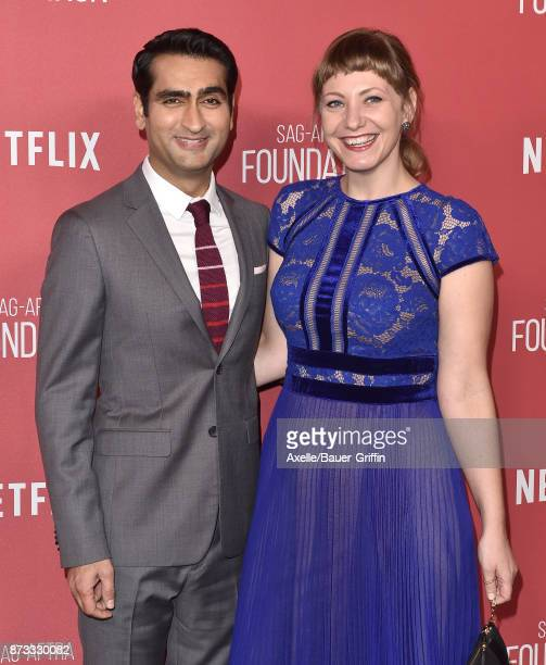 Actor Kumail Nanjiani and Emily V Gordon arrive at SAGAFTRA Foundation Patron of the Artists Awards 2017 on November 9 2017 in Beverly Hills...