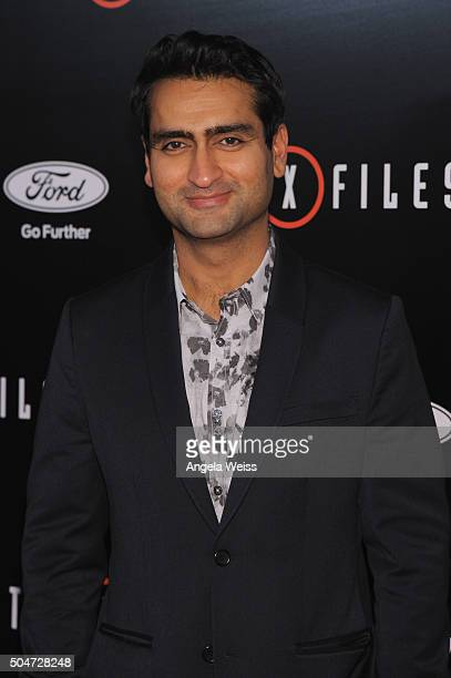 Actor Kumail Nanjiani attends the premiere of Fox's 'The XFiles' at California Science Center on January 12 2016 in Los Angeles California