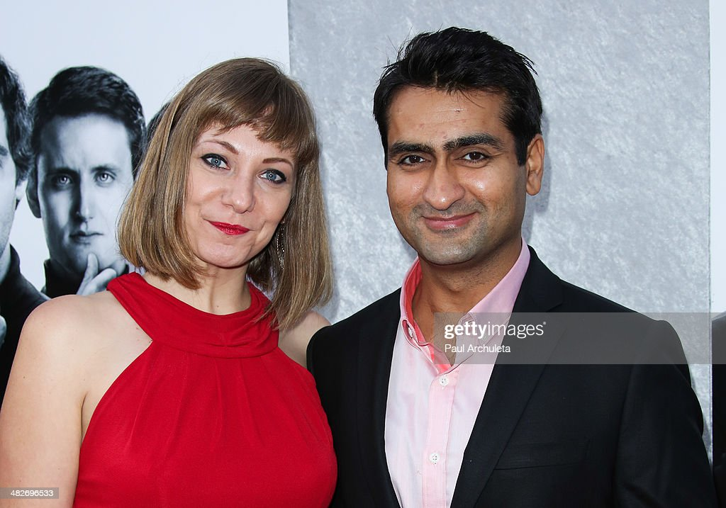 Actor Kumail Nanjiani (R) attends the premiere of HBO's 'Silicon Valley' at Paramount Studios on April 3, 2014 in Hollywood, California.
