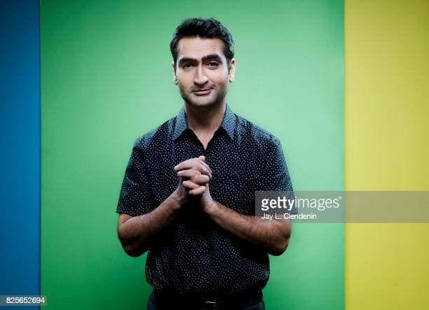 Actor Kumail Nanjiani from the film 'The Lego Ninjago Movie' is photographed in the LA Times photo studio at ComicCon 2017 in San Diego CA on July 21...