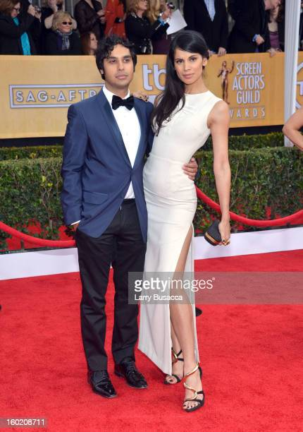 Actor Kunal Nayyar and model Neha Kapur attend the 19th Annual Screen Actors Guild Awards at The Shrine Auditorium on January 27 2013 in Los Angeles...