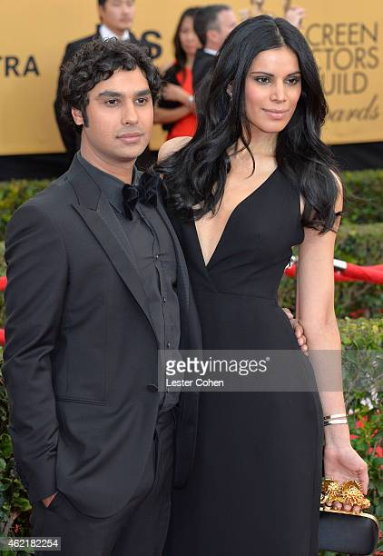 Actor Kunal Nayyar and model Neha Kapur attend the 21st Annual Screen Actors Guild Awards at The Shrine Auditorium on January 25 2015 in Los Angeles...