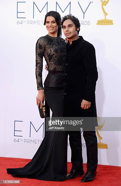 Actor Kunal Nayyar and wife Neha Kapur arrives at the 64th Primetime Emmy Awards at Nokia Theatre LA Live on September 23 2012 in Los Angeles...