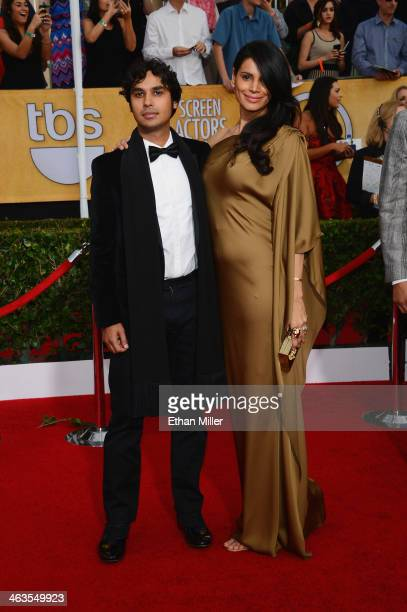 Actor Kunal Nayyar and wife Neha Kapur attend the 20th Annual Screen Actors Guild Awards at The Shrine Auditorium on January 18 2014 in Los Angeles...