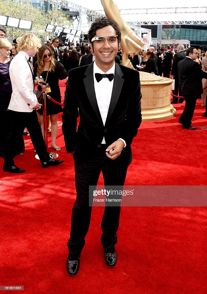 Actor <a gi-track='captionPersonalityLinkClicked' href=/galleries/search?phrase=Kunal+Nayyar&family=editorial&specificpeople=4414736 ng-click='$event.stopPropagation()'>Kunal Nayyar</a> arrives at the 65th Annual Primetime Emmy Awards held at Nokia Theatre L.A. Live on September 22, 2013 in Los Angeles, California.