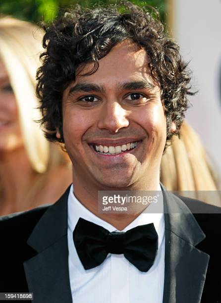 Actor Kunal Nayyar arrives at the 70th Annual Golden Globe Awards held at The Beverly Hilton Hotel on January 13 2013 in Beverly Hills California