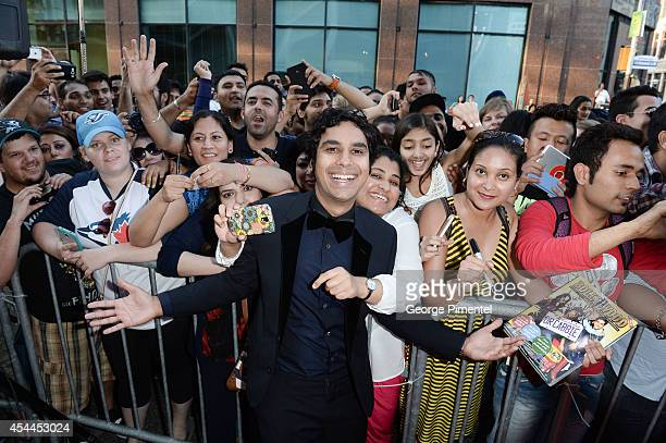 Actor Kunal Nayyar arrives at the Canadian Premiere of 'Dr Cabbie' held at Scotiabank Theatre on August 31 2014 in Toronto Canada