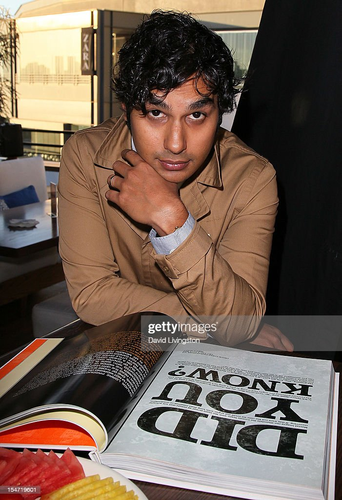 Actor <a gi-track='captionPersonalityLinkClicked' href=/galleries/search?phrase=Kunal+Nayyar&family=editorial&specificpeople=4414736 ng-click='$event.stopPropagation()'>Kunal Nayyar</a> attends a reception to celebrate the release of Chuck Lorre's 'What Doesn't Kill Us Makes Us Bitter' at Mixology101 & Planet Dailies on October 24, 2012 in Los Angeles, California.