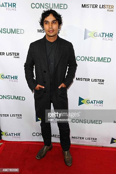Actor Kunal Nayyar attends the premiere of Mister Lister Film's 'Consumed' at Laemmle Music Hall on November 11 2015 in Beverly Hills California