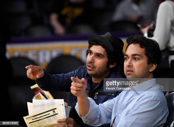 Actor Kunal Nayyar of 'The Big Bang Theory' and a guest attend Memphis Grizzlies and Los Angeles Lakers basketball game at Staples Center April 2...