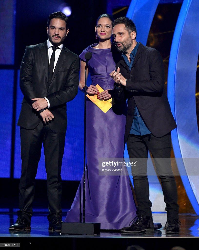 Actor Kuno Becker recording artist Natalia Jimenez and recording artist Jorge Drexler speak onstage during the 15th annual Latin GRAMMY Awards at the...