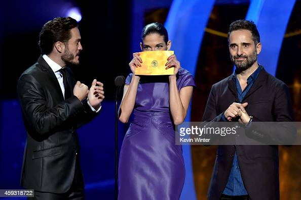Actor Kuno Becker recording artist Natalia Jimenez and recording artist Jorge Drexler speak onstage during the 15th annual Latin GRAMMY Awards at the...