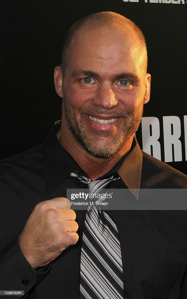 Actor <a gi-track='captionPersonalityLinkClicked' href=/galleries/search?phrase=Kurt+Angle&family=editorial&specificpeople=644134 ng-click='$event.stopPropagation()'>Kurt Angle</a> attends the Premiere of Lionsgate Films' 'Warrior' at the Arclight Hollywood on September 6, 2011 in Hollywood, California.