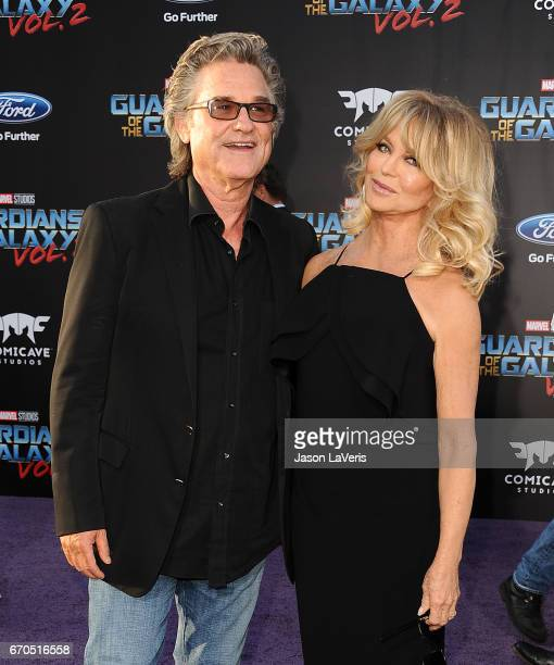 Actor Kurt Russell and actress Goldie Hawn attend the premiere of 'Guardians of the Galaxy Vol 2' at Dolby Theatre on April 19 2017 in Hollywood...