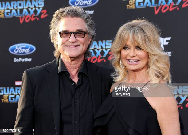 Actor Kurt Russell and actress Goldie Hawn attend world premiere of Disney and Marvel's' 'Guardians Of The Galaxy 2' at Dolby Theatre on April 19...