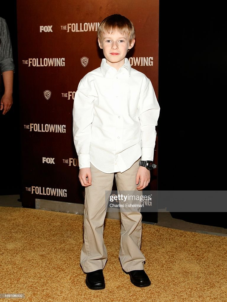 Actor Kyle Catlett attends 'The Following' premiere at The New York Public Library on January 18, 2013 in New York City.