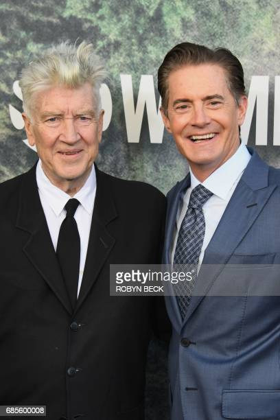 Actor Kyle MacLachlan and David Lynch attend the world premiere of the Showtime limitedevent series 'Twin Peaks' on May 19 2017 at the Ace Hotel in...