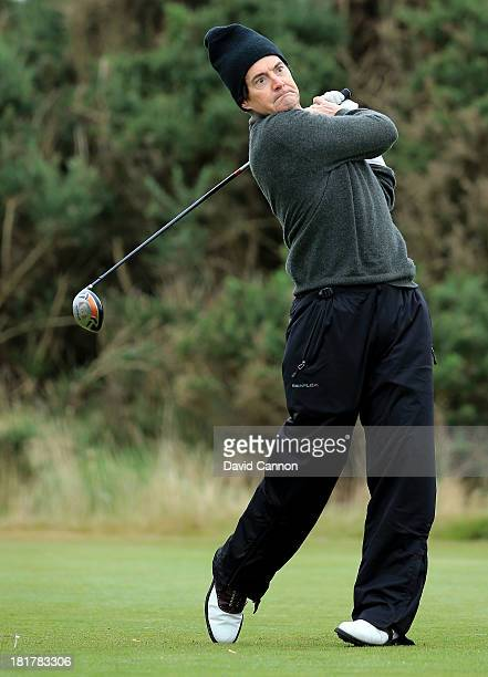 Actor Kyle MacLachlan of the United States on the first tee during a practice round at Kingsbarns for the 2013 Alfred Dunhill Links Championship on...