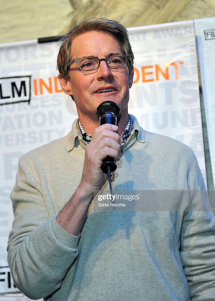 Actor <a gi-track='captionPersonalityLinkClicked' href=/galleries/search?phrase=Kyle+MacLachlan&family=editorial&specificpeople=213038 ng-click='$event.stopPropagation()'>Kyle MacLachlan</a> speaks onstage during the Film Independent Sundance Reception at Riverhorse Cafe during the 2013 Sundance Film Festival on January 21, 2013 in Park City, Utah.