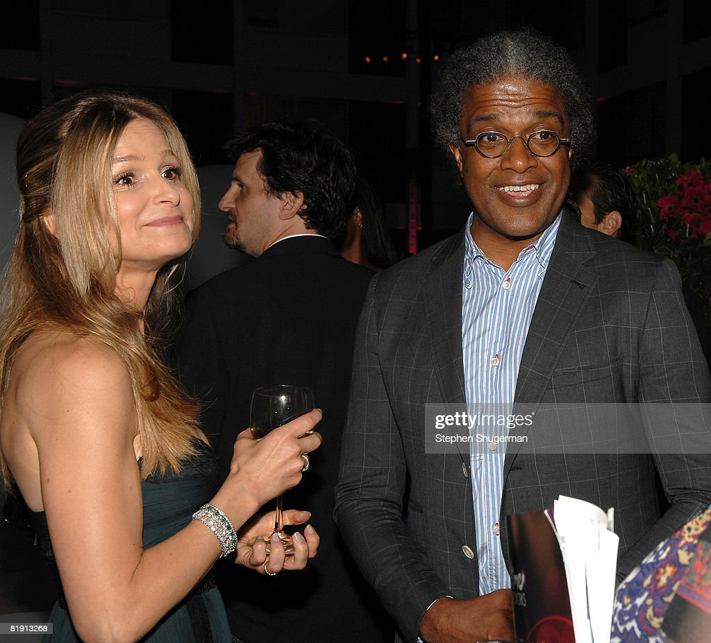 Actor Kyra Sedgwick (L) and critic Elvis Mitchell attend the 2008 Summer TCA Tour Turner Party at the Beverly Hilton Hotel on July 11, 2008 in Beverly Hills, California.